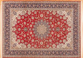 Isfahan 81037<div>9 x 12 8-8 x 12 Red exceptionally fine wool and silk Hand-knotted in Iran rugs</div>