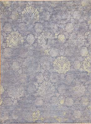 Oushak 87394<div>9 x 12 9 x 12-1 Blue and Gray hand spun wool pile Hand-knotted in Pakistan rugs</div>